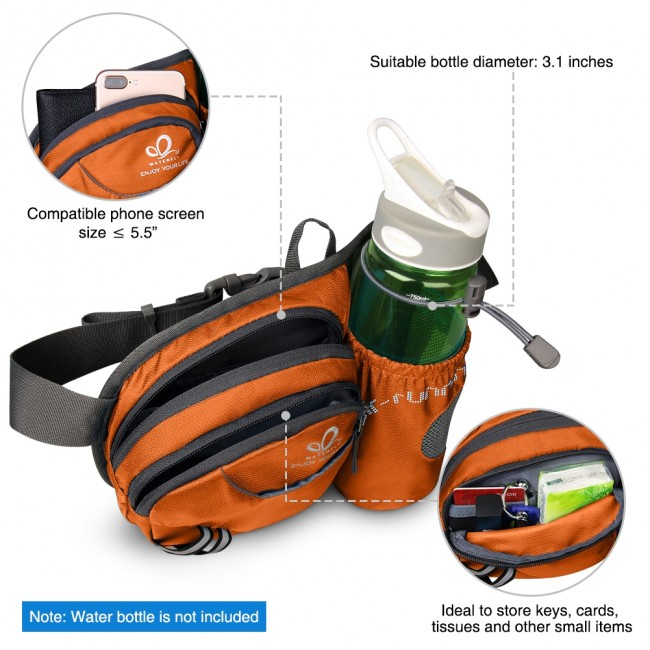 WATERFLY Hiking Waist Bag Can Hold iPhone6 Plus 5 9 inch Gear with Water  Bottle B00QENFW96
